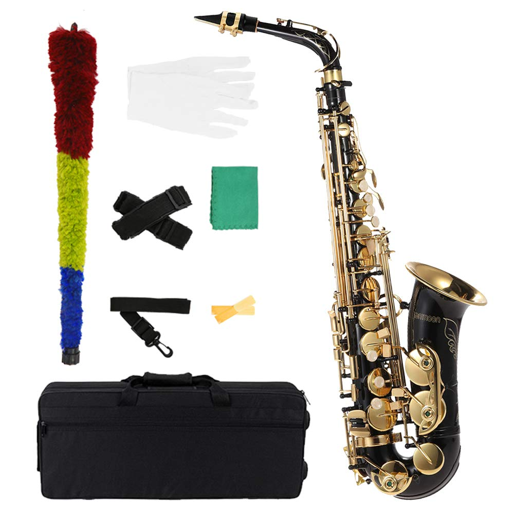 ammoon bE Alto Saxphone Brass Lacquered Gold E Flat Sax 82Z Key Type Woodwind Instrument with Cleaning Brush Cloth Gloves Cork Grease Strap Padded Case by ammoon