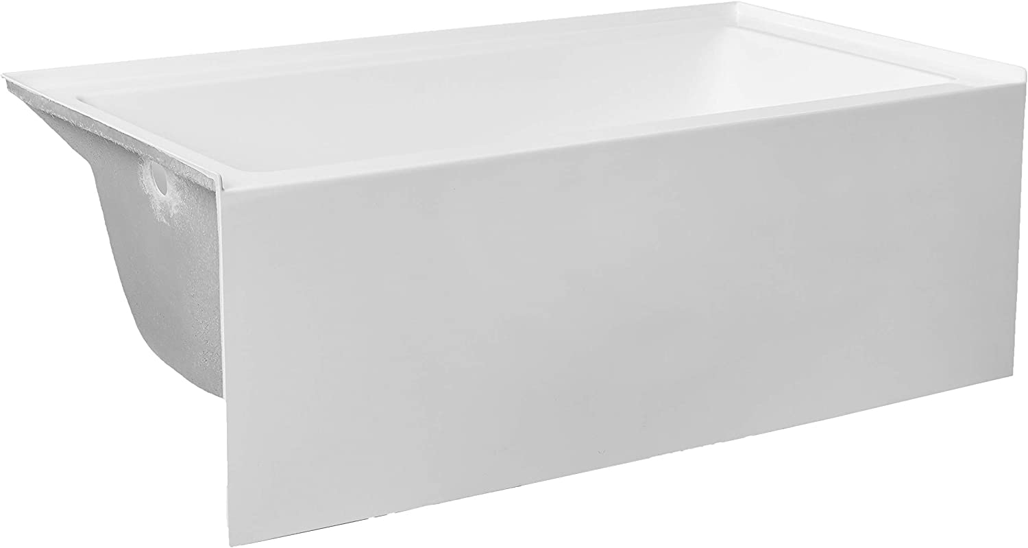 "Kingston Brass VTAP603222L Aqua Eden 60-Inch Acrylic Alcove Tub with Left Hand Drain Hole, L 60"" x W 32"" x H 21-5/8""D, White"