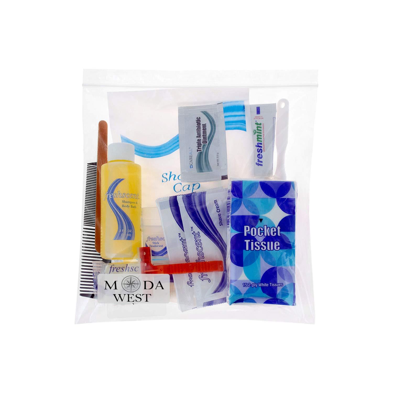 48 Kits - Bulk Case of Wholesale Deluxe 15 Piece Hygiene & Toiletry Kit for Men, Women, Travel, Charity by Moda West (Image #2)
