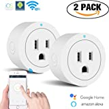 Smart Plug,WiFi Smart Socket Outlet,Mini Wireless Smart Switch Works with Amazon Alexa Echo Google Home Assitant,No Hub Required,Remote Control Your Devices for Anywhere with Timing Function,2 Pack