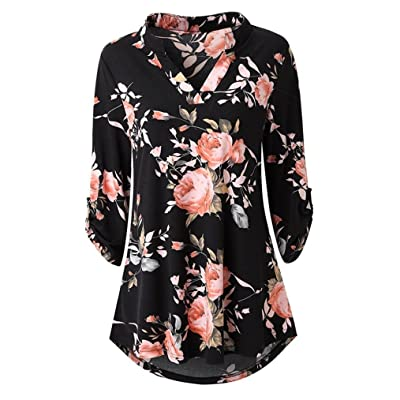 jin&Co Womens Blouses Floral Printed Tunic Shirts 3/4 Roll Sleeve Notch Neck Tunic Top at Women's Clothing store
