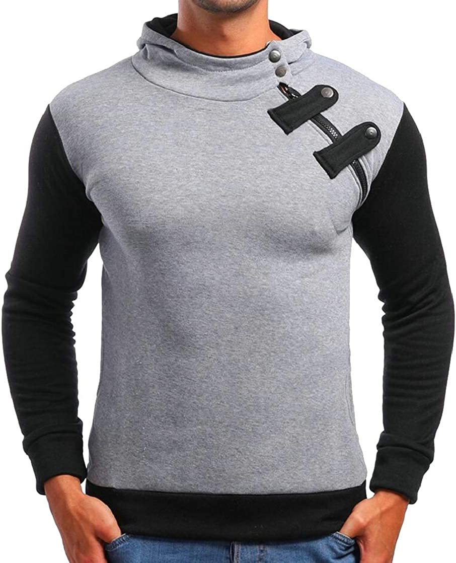 M/&S/&W Mens Leisure Oblique Zip Color Stitching Long Sleeve Hoodies Pullover Sweatshirts