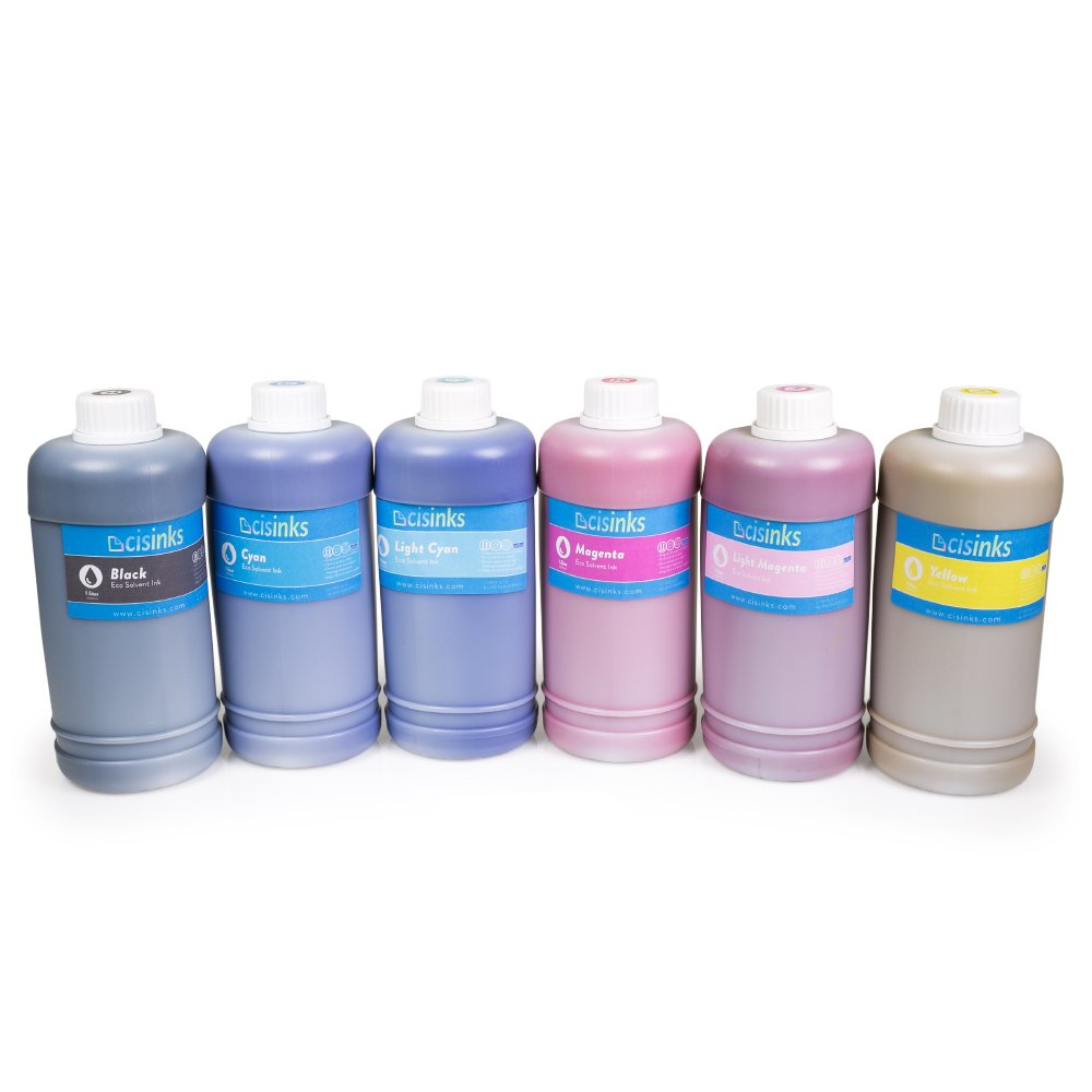 Cisinks Eco-Solvent Ink 6 Color Bottle Set for Roland Mimaki and Mutoh Printers (6000 ml/6 Liters) by CIS Inks (Image #1)