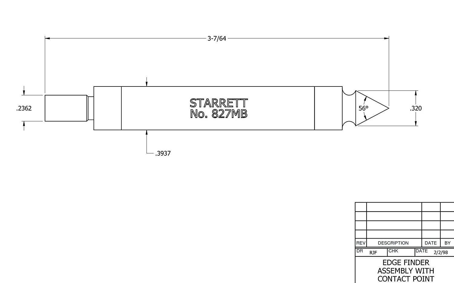 With Pointed Contact 0.2 Contact Diameter Starrett 827B Edge Finders 0.5 Body Diameter Double End