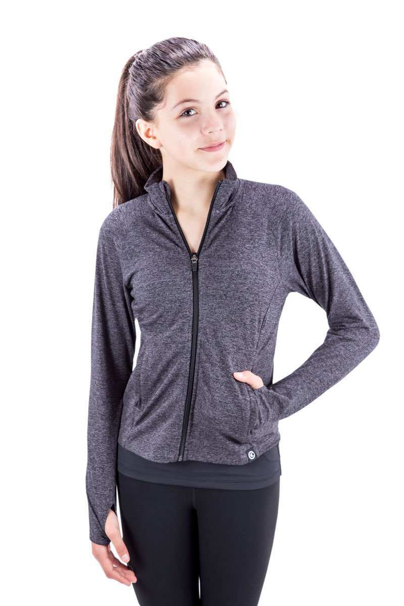 Covalent Activewear Girls Flex Jacket-92-YM Carbon Heather by Covalent Activewear