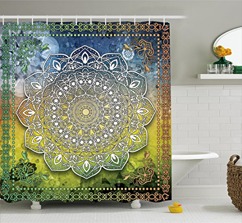 Chakra Design - Ambesonne Ethnic Shower Curtain, Mystic Asian Mandala Zen Culture Chakra Karma Calmness and Harmony Icon Boho Design, Fabric Bathroom Decor Set with Hooks, 84 Inches Extra Long, Multicolor