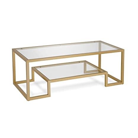 Amazon Com Modern Coffee Table Metal Glass Cocktail Table