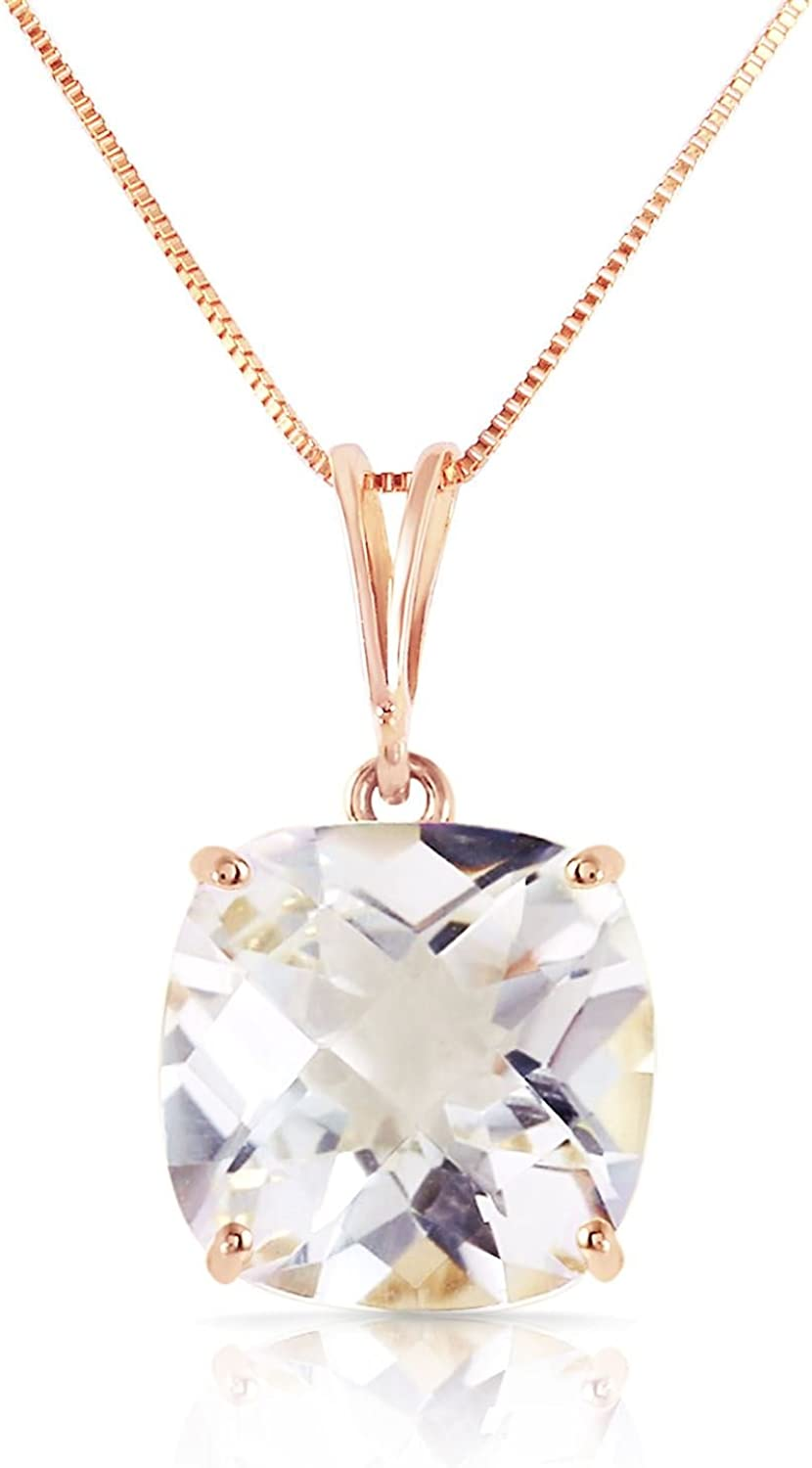 ALARRI 3.6 Carat 14K Solid Rose Gold Necklace Natural Checkerboard Cut White Topaz with 22 Inch Chain Length