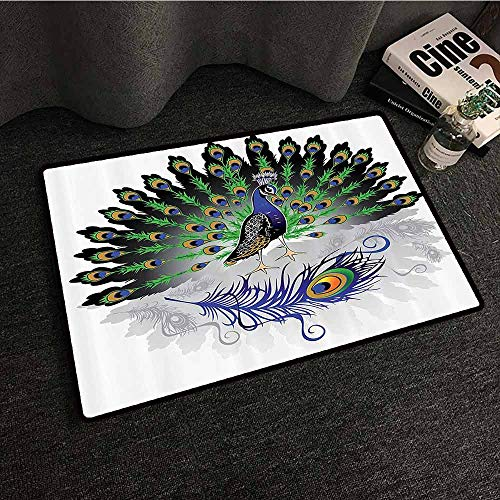 Peacock Decor Collection Non-Slip Door mat Male Peacock with Open Tail Reflection Illustration Crowned Majestic Bird Tropics Image Hard and wear Resistant W31 xL47 Navy Green ()