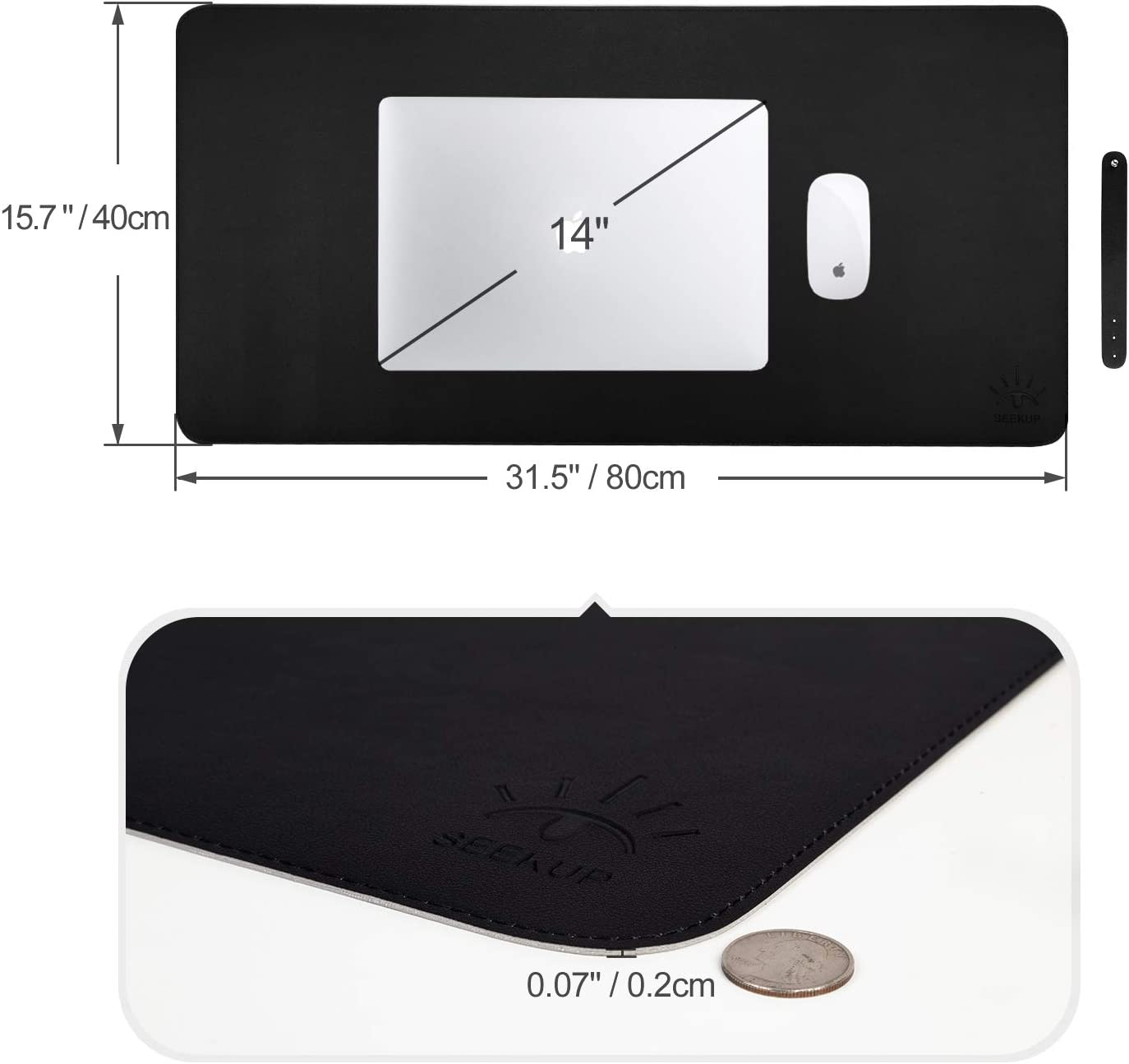 "Black/Gray Dual Sided PU Leather Desk Pad, Upgrade Sewing Office Laptop Mat, Waterproof Large Mouse Pad, Non-Slip Writing Mat Desk Blotter Protector for Office/Home, 31.5""x15.7"" : Office Products"