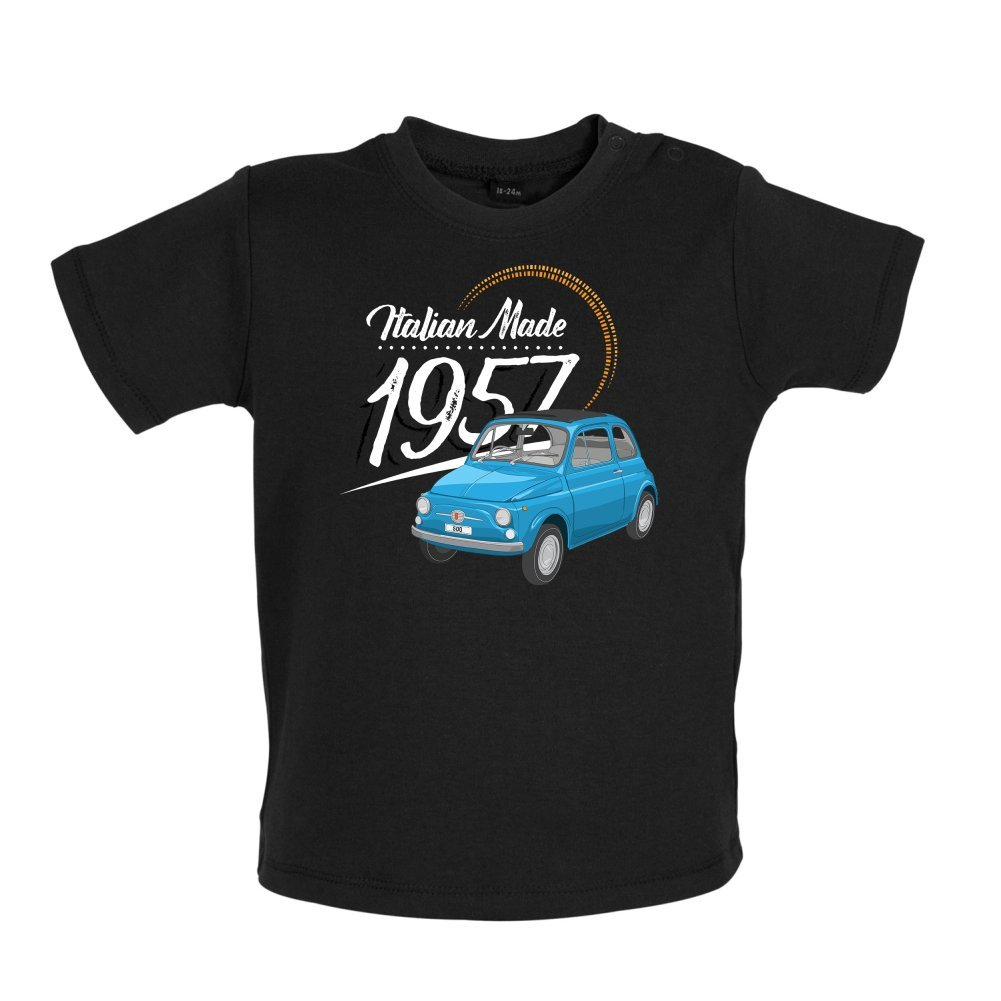 Italian Made 1957 3-24 Months 8 Colours Fiat Baby T-Shirt