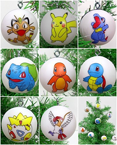 8 Piece Character Ball Christmas Tree Ornament Set Featuring Pikachu and Friends
