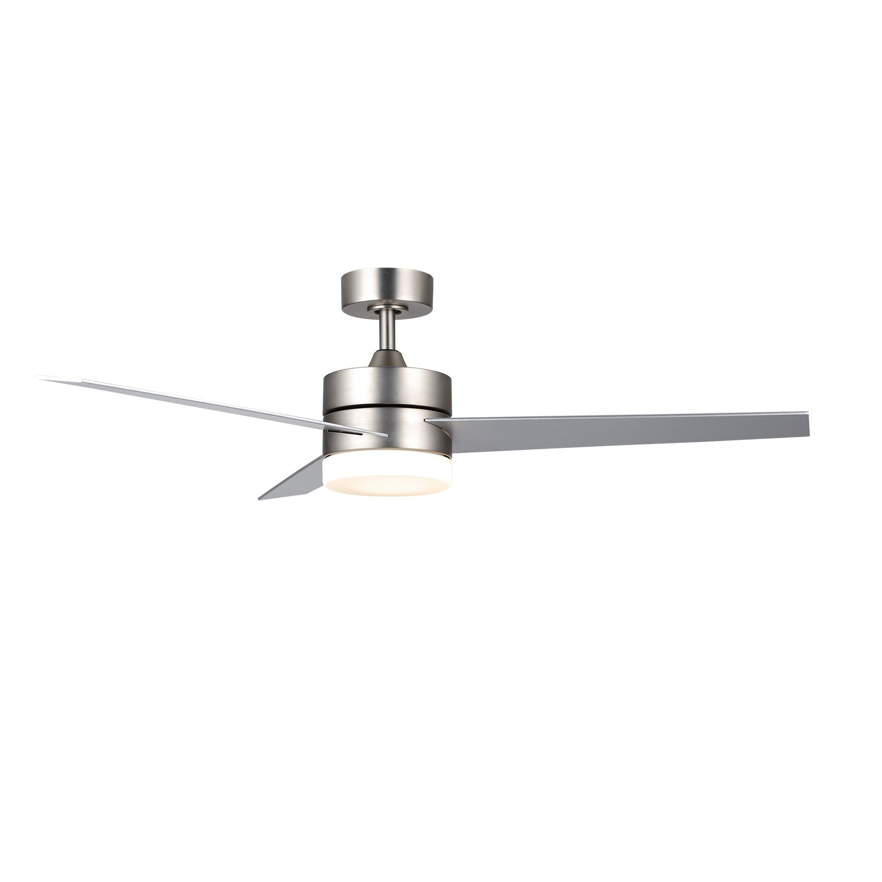 """CO-Z Contemporary 52""""Ceiling Fan Light Brushed Nickel Finish with 3 Silver and Walnut Plywood Blades, Include 18W LED Light & Remote Control, UL Certificate"""