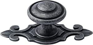 TIICA 4 Pcs Antique Pewter Top Ring Cabinet Knobs with Fleur de Lis Backplates, 1.21-Inch Vintage Silver Rustic Dresser Drawer Pulls Handles Furniture Hardware
