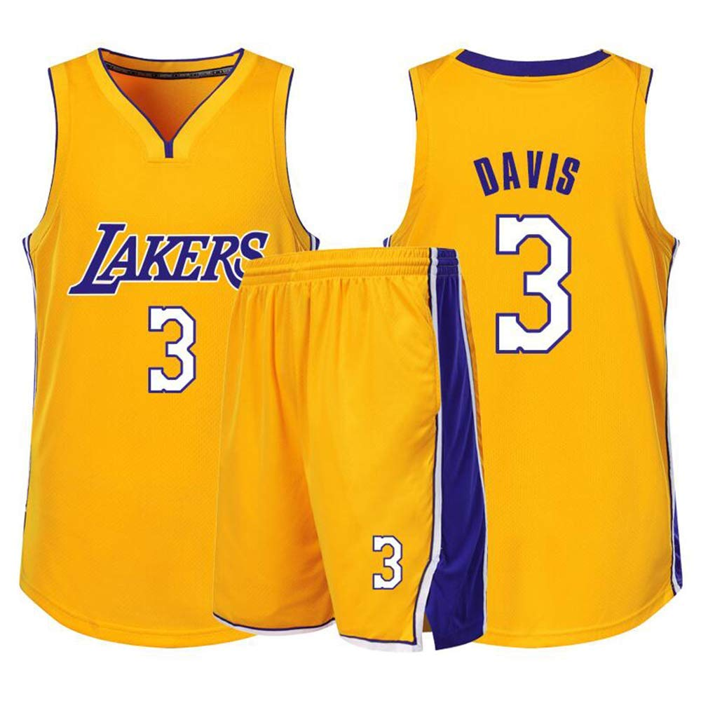 Anthony Davis # 3 Lakers Baloncesto Sin Mangas Cl/ásico Bordado Hombres Ni/ños Jersey Ni/ños Y Ni/ñas Tops Shorts Conjunto De Sudadera De 1 Pieza,Amarillo,M155cm//40~45kg