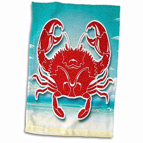 3dRose-Doreen-Erhardt-Sea-Life-Red-Crab-with-Sandy-Beach-and-Ocean-Scrapbook-Style-Towel