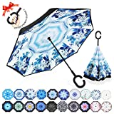 : ZOMAKE Double Layer Inverted Umbrellas for Women, Reverse Folding Umbrella Windproof UV Protection Big Straight Umbrella for Car Rain Outdoor With C-Shaped Handle (Water Village)