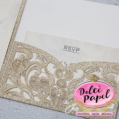 25 Gorgeous Gold Glitter Laser Cut Wrap Intricate Lace Pocket Elegant Invitations Set
