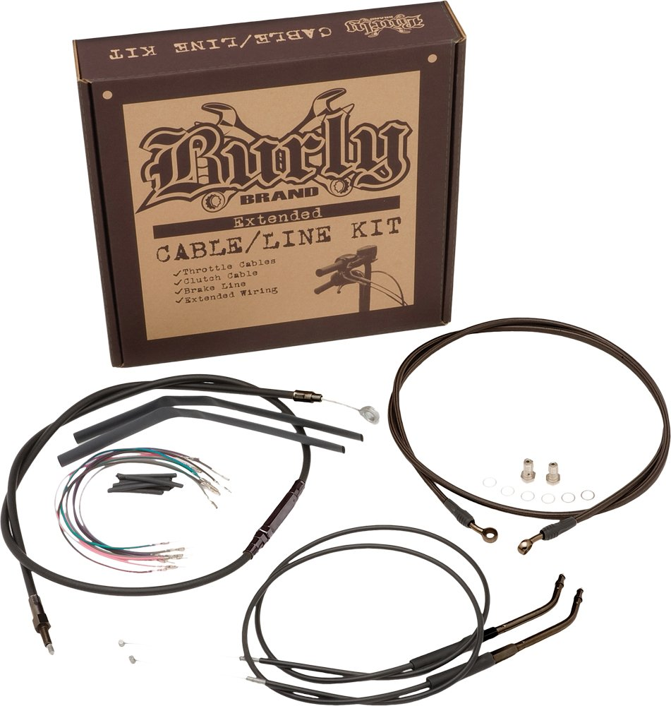 Burly Brand Black 14''; Ape Hanger Cable/Brake/Wiring Kit by Burly