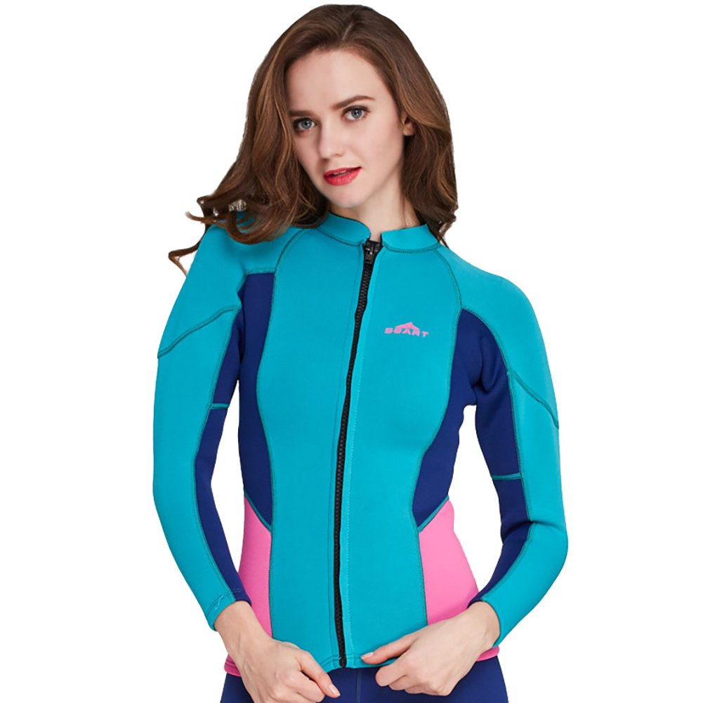 Lynddora Womens Long Sleeve 2MM Neoprene Diving Jacket Front Zipper Wetsuit Top Warm Protection (Light Blue, US L/Tag XXL) by Lynddora