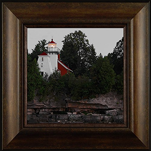 (Sherwood Point Light By Todd Thunstedt 20x20 Idlewild Sturgeon Bay Wisconsin WI Door County Lighthouse Sailing Ocean Sea Split Rock Fish Creek Peninsula State Park Framed Art Print Wall Décor Picture)