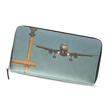 Tilda shop aircraft green PU leather fiber long purse wallets Gifts ... 632e199435