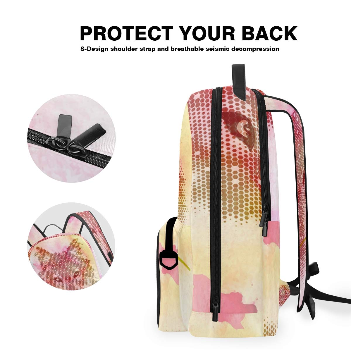Rose Wolf Abstract Shoulder Backpack Messenger Crossbody Laptop Bag Student Bookbags for Kid Girls Boys