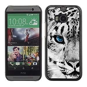 // PHONE CASE GIFT // Duro Estuche protector PC Cáscara Plástico Carcasa Funda Hard Protective Case for HTC One M8 / Leopardo de nieve /
