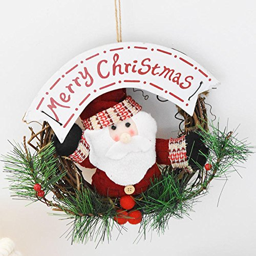 Christmas Wreath Door Hanger - 20cm Christmas Wreath for Front Door Hang with Santa Claus Snowman Ornaments Natural Rattan Wreath Door Hanger - Santa Claus ( Christmas Wreaths For Doors (20 Snowman Wreath)