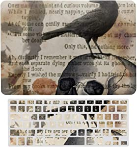 MacBook Air 13 Inch Case(A1369 & A1466, Older Version 2010-2017 Release), Plastic Hard Protective Laptop Case Shell with Keyboard Cover, Edgar Allan poe The Raven Skull
