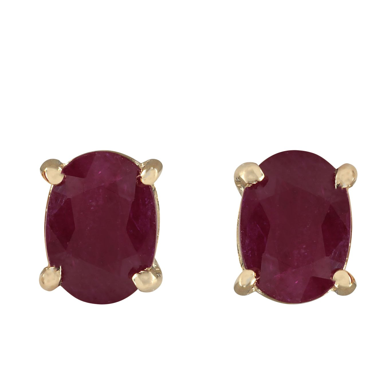 1.8 Carat Natural Red Ruby 14K Yellow Gold Solitaire Stud Earrings for Women Exclusively Handcrafted in USA