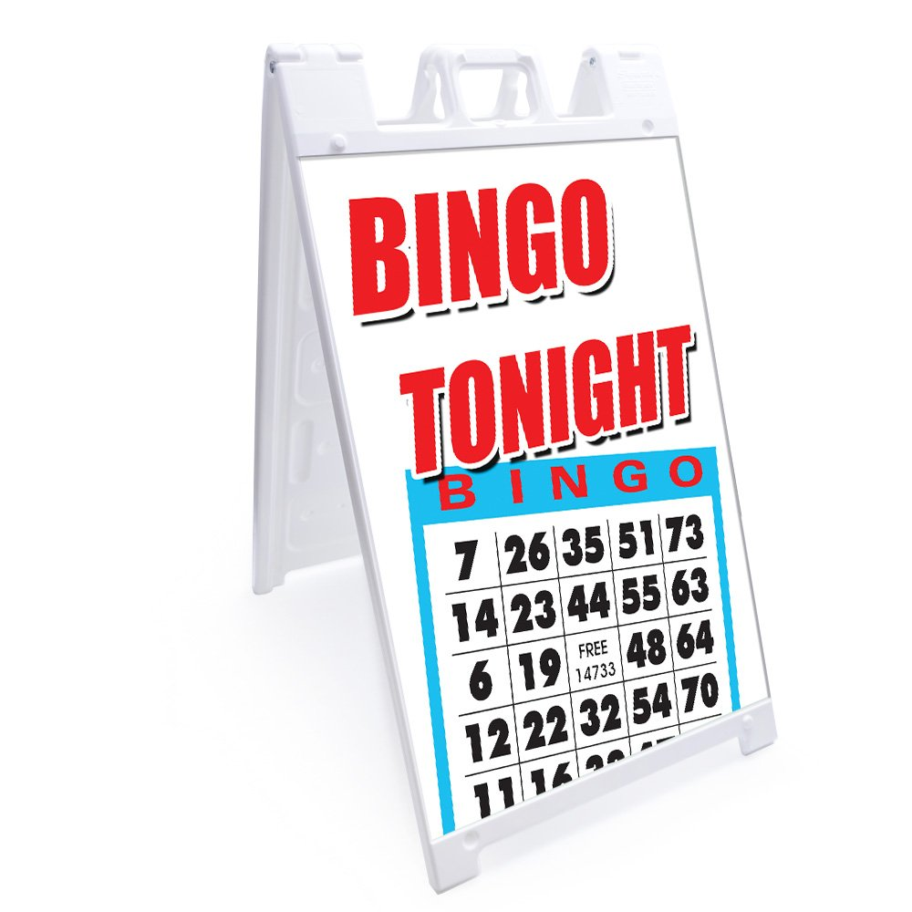 A-frame Bingo Tonight Sign With Graphics On Each Side | 24'' X 36'' Print Size | Heavy Duty