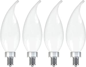 GE Lighting 36985 Finish Light Bulb Relax HD Dimmable LED Decorative 4 (40-Watt Replacement), 300-Lumen Candelabra Base Bent Tip, 4-Pack, Frosted White, 4 Piece