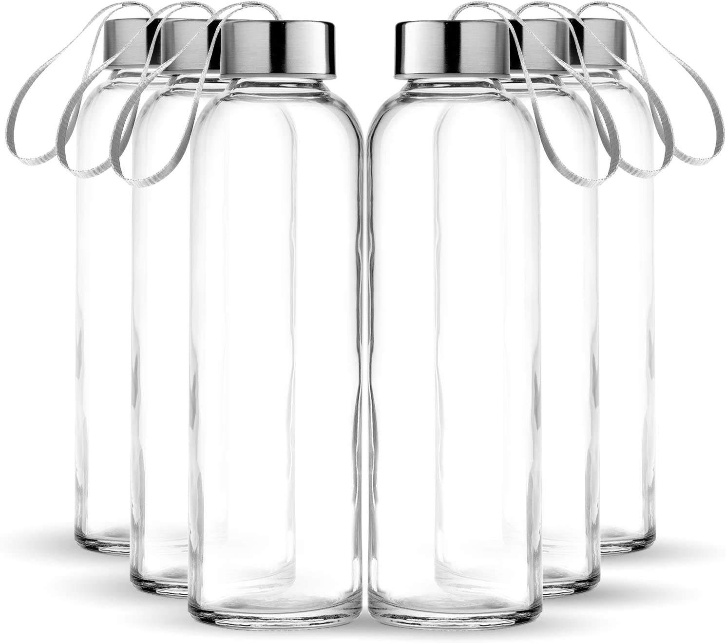 Chef's Star Glass water Bottle 6 Pack 16oz Bottles For Beverage and Juice, Stainless Steel Caps with Carrying Loop - Including 6 Black Nylon Protection Sleeve