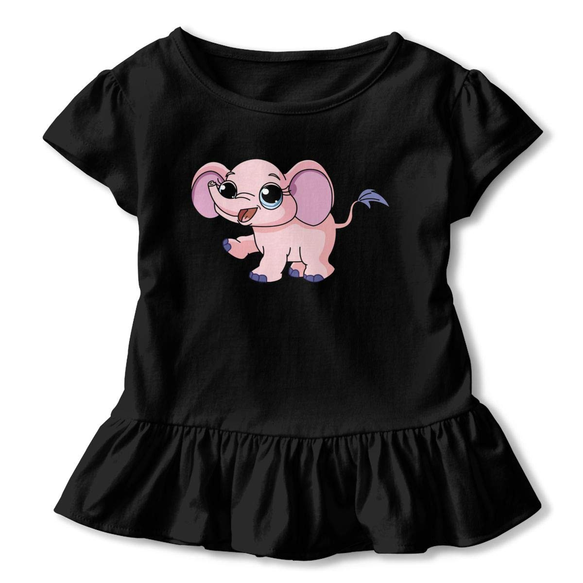 DXTDCMMe Cute Baby Elephant Baby Girl Ruffle T-Shirt Crew Neck Tees for 2-6T