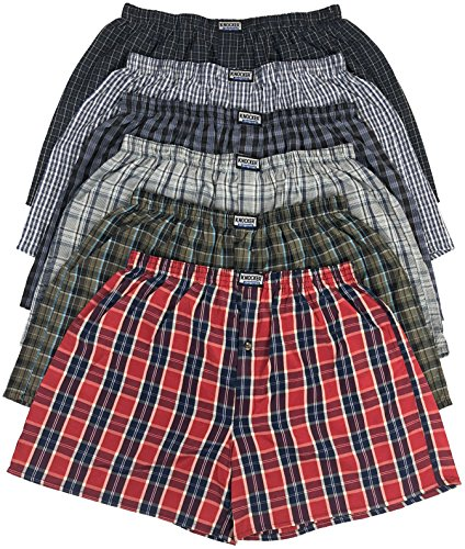 ToBeInStyle Men's 3 Pack Loose Fit Tartan Plaid Boxers - Assorted - Large