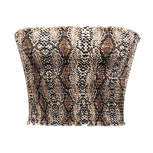 GATHY Women's Strapless Pleated Sexy Tube Crop Tops (Large/X-Large, Brown Snake) ()