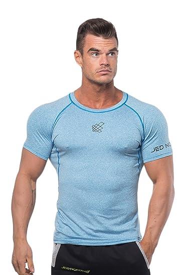 dda2e637e8d8 Men's Short Sleeve Tee Compression T Shirt Bodybuilding Workout Slim Fit,  Large, Aqua blue