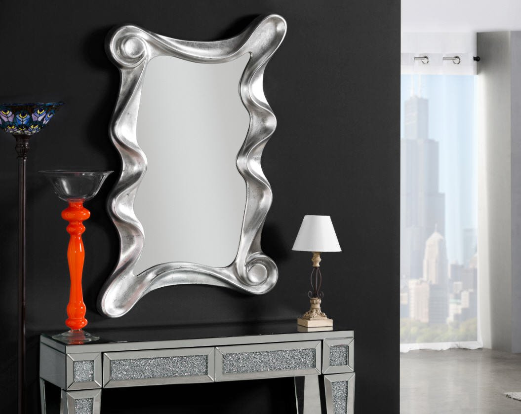 Giner Espejos Modernos Ondas Plata Rectangular Ibergada  # Muebles Giner Y Colomer