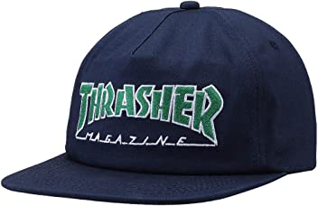 83d49ee3471 Thrasher Magazine Outlined Logo Unstructured Snapback Hat - Navy Green