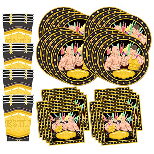 Wrestling Birthday Party Supplies Set Plates Napkins Cups Tableware Kit for 16 by Birthday Galore