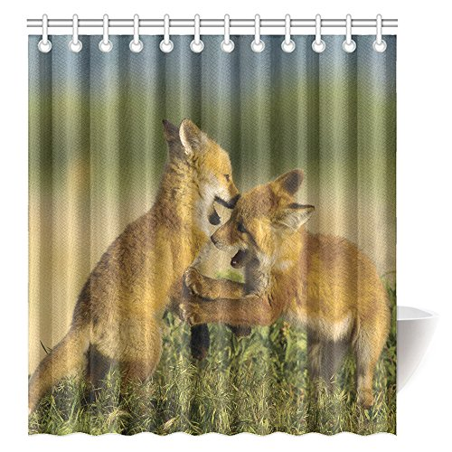 CTIGERS Animal Theme Shower Curtain for Kids Two Little Fox Playing Polyester Fabric Bathroom Decoration 66 x 72 Inch by CTIGERS