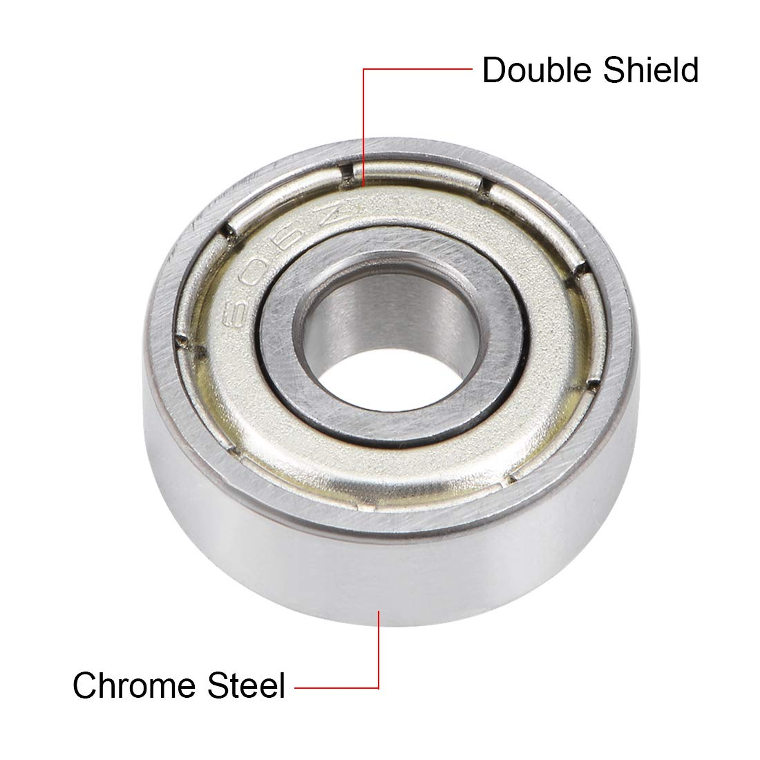 uxcell/® 606ZZ Deep Groove Ball Bearing 6x17x6mm Double Shielded Chrome Steel Bearings 20-Pack