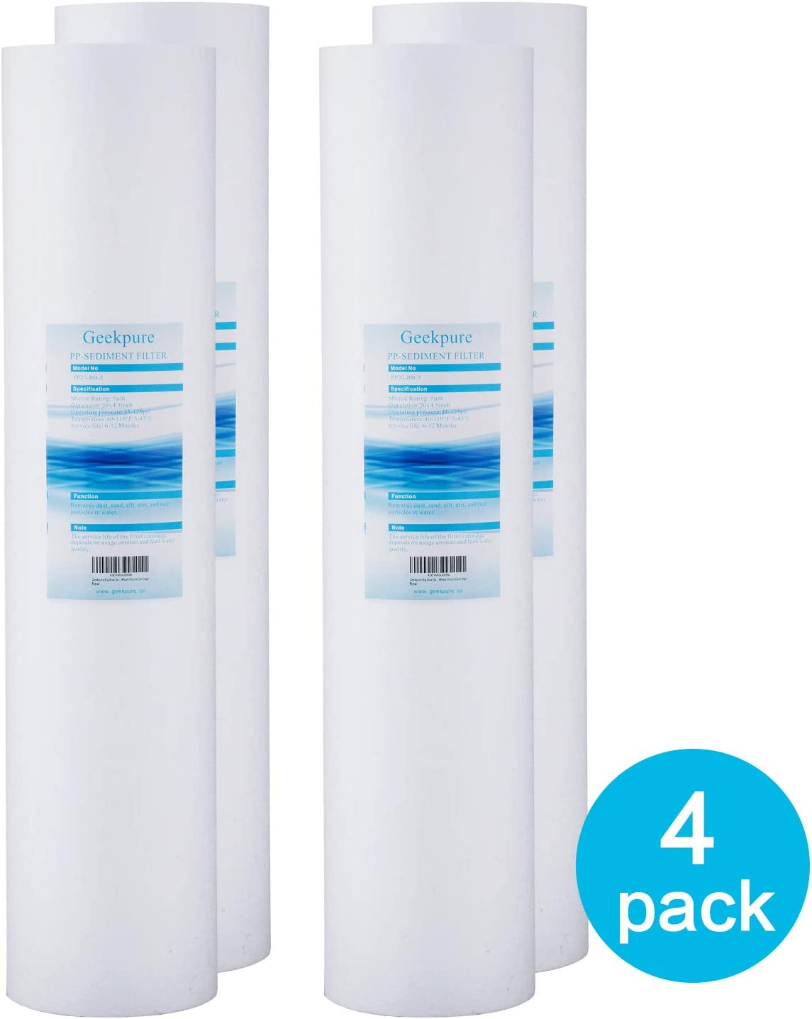 "2 pack 20/""x4.5/"" Big Blue Whole House 1 micron melt-blown Sediment Water Filter"