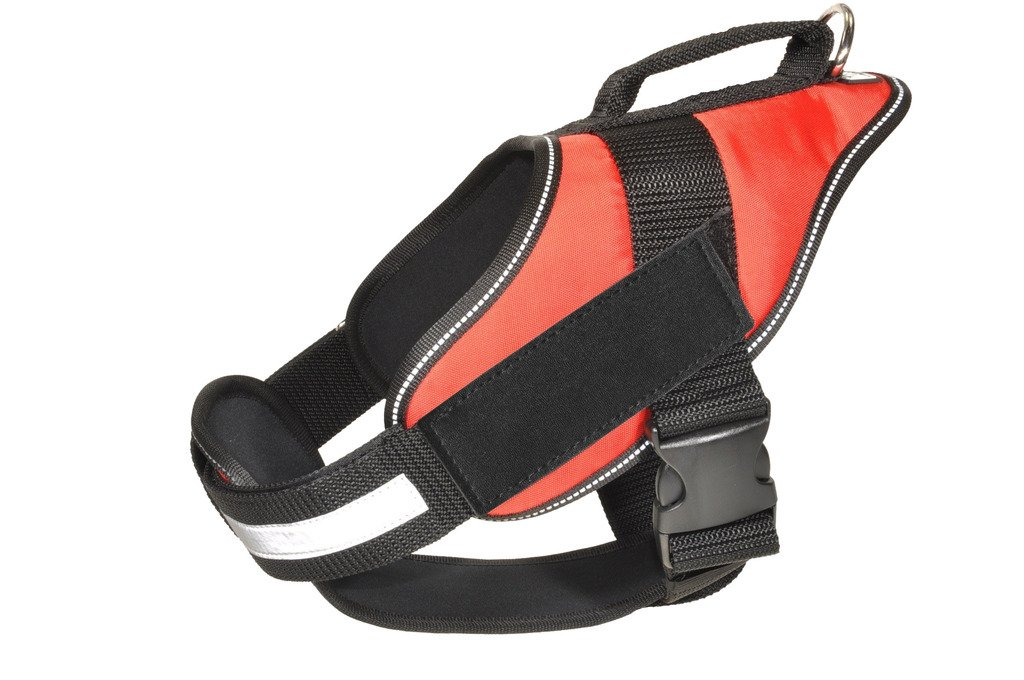 Dogline Alpha Nylon Service Vest Harness with Blank Velcro Patches, X-Large, Red