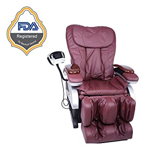 NEW Electric Full Body Heat Therapy Shiatsu Massage Chair Recliner w/Heat Stretched Foot Rest 06C (Burgundy)