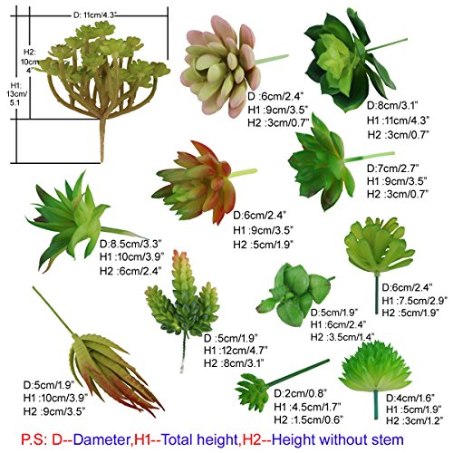 Greatflower 12 Different Kinds of Artificial Succulents for Plants Wall DIY Materials by Greatflower (Image #1)