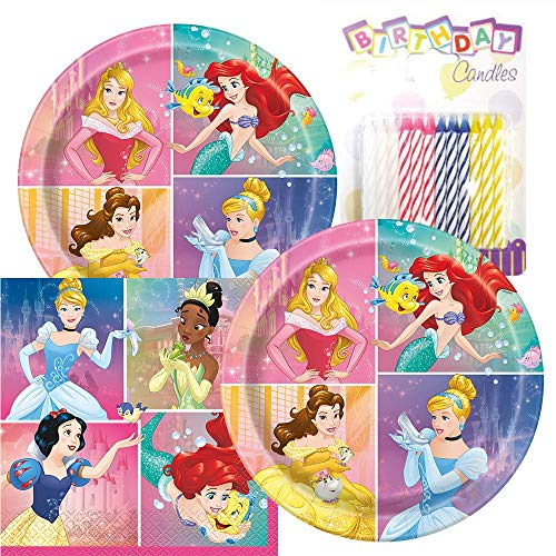 Princess Themed Party Pack - Includes Paper Plates & Luncheon Napkins Plus 24 Birthday Candles - Servers 16
