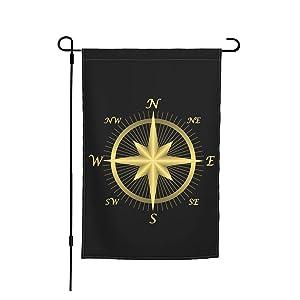 Golden Nautical Compass Garden Flag Outdoor Flag Decoration Hanging Flags Yard Flag