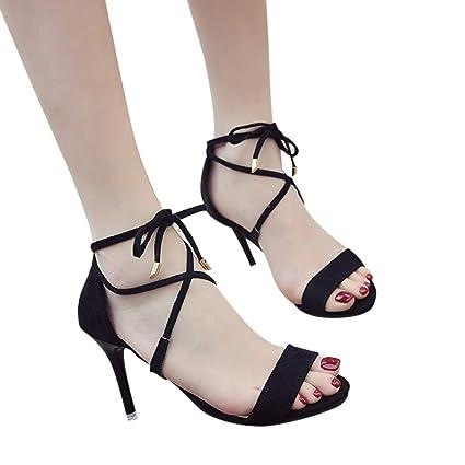 Sandales Minimalistes à Petits Talons en Suédine,Xinan Femme Fête Soirée Chaussures  Talons Hauts Bride 5a970c4eb64